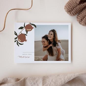 Carte de remerciement mariage Grenades Terracotta, Portrait ensoleillé