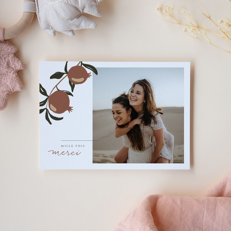 Carte de remerciement mariage Grenades Terracotta, Portrait ensoleillé pas cher