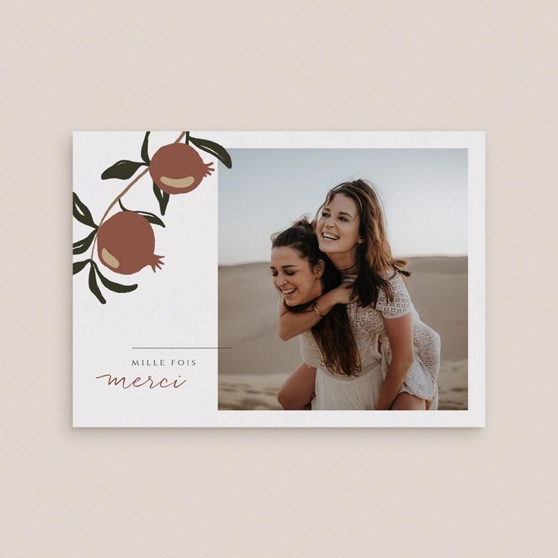 Carte de remerciement mariage Grenades Terracotta, Portrait ensoleillé gratuit