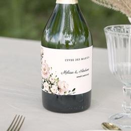 Etiquette bouteille mariage Champêtre Romantique, 13 x 8 cm