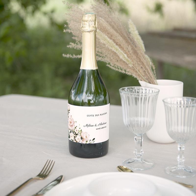 Etiquette bouteille mariage Champêtre Romantique, 13 x 8 cm gratuit