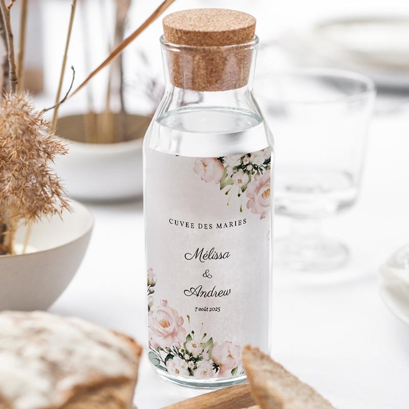 Etiquette bouteille mariage Champêtre Romantique, 8 x 13 cm gratuit