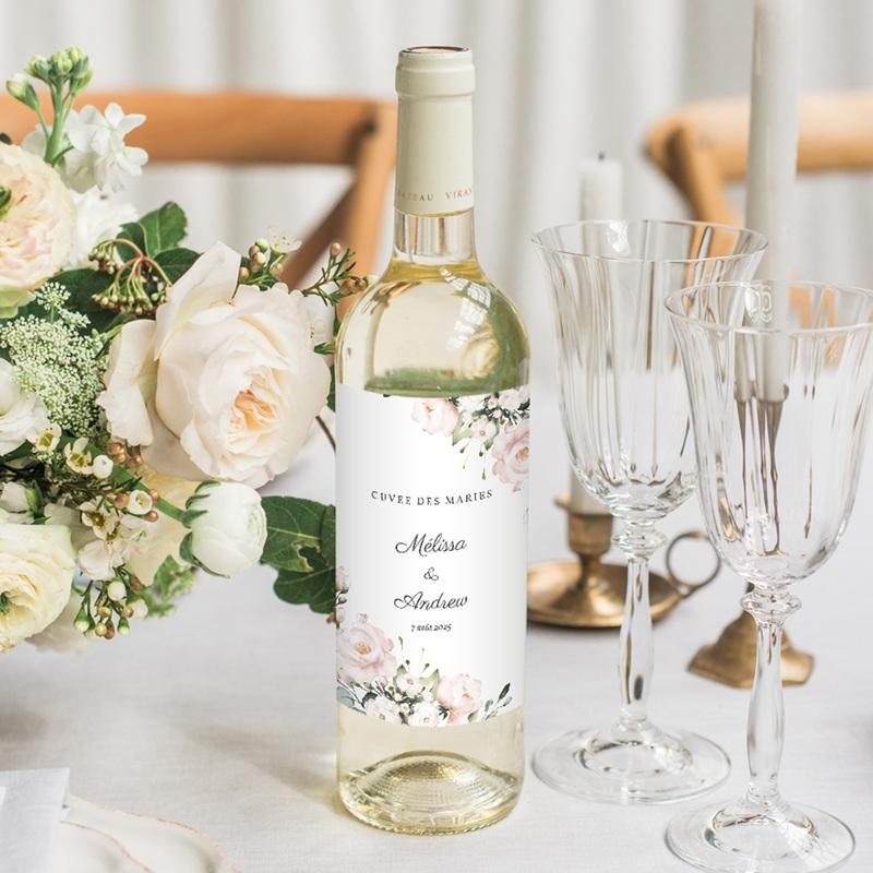 Etiquette bouteille mariage Champêtre Romantique, 8 x 13 cm