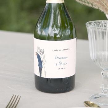 Etiquette bouteille mariage Épousailles en famille, Champagne
