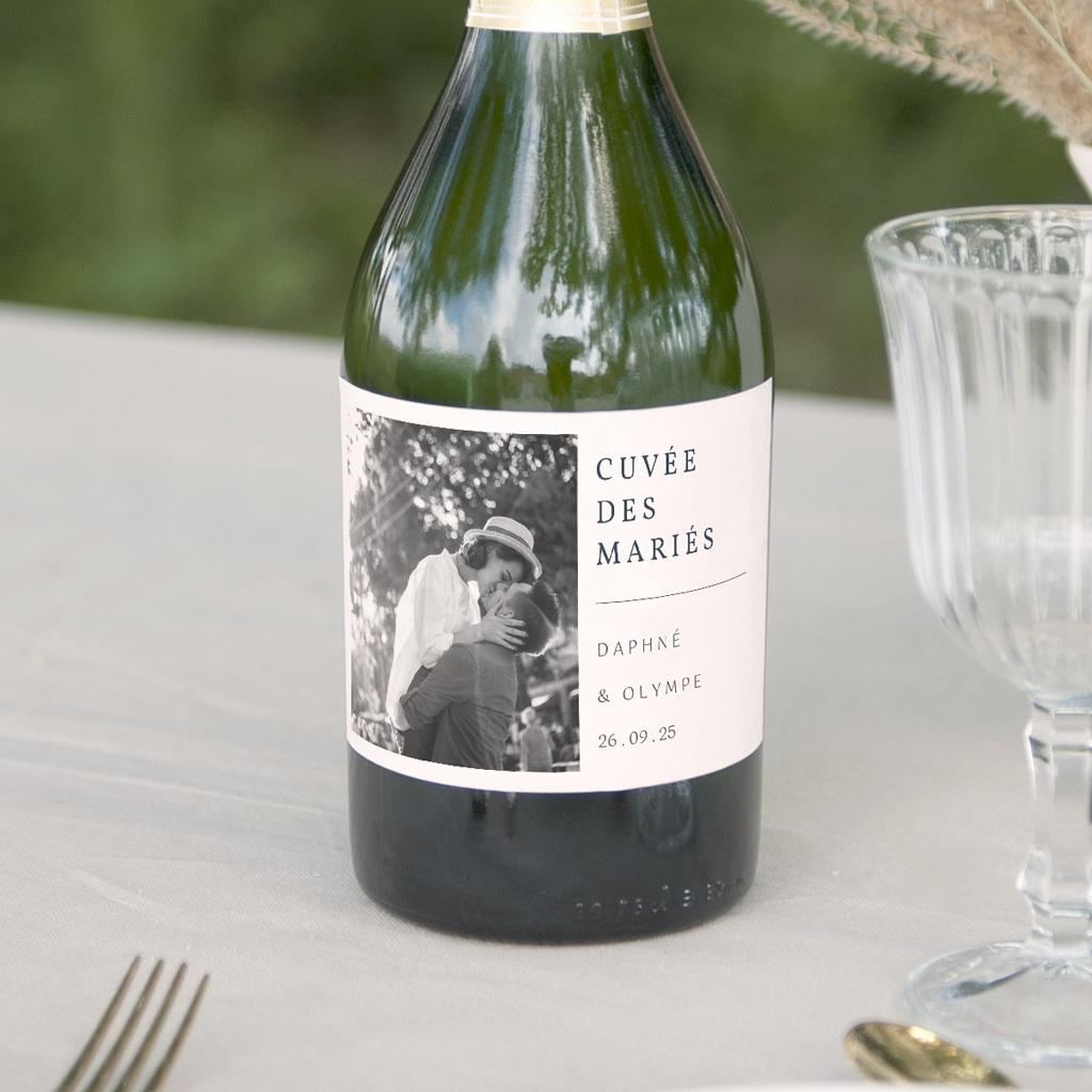 Etiquette bouteille mariage Les Noces d'une Tribu, champagne