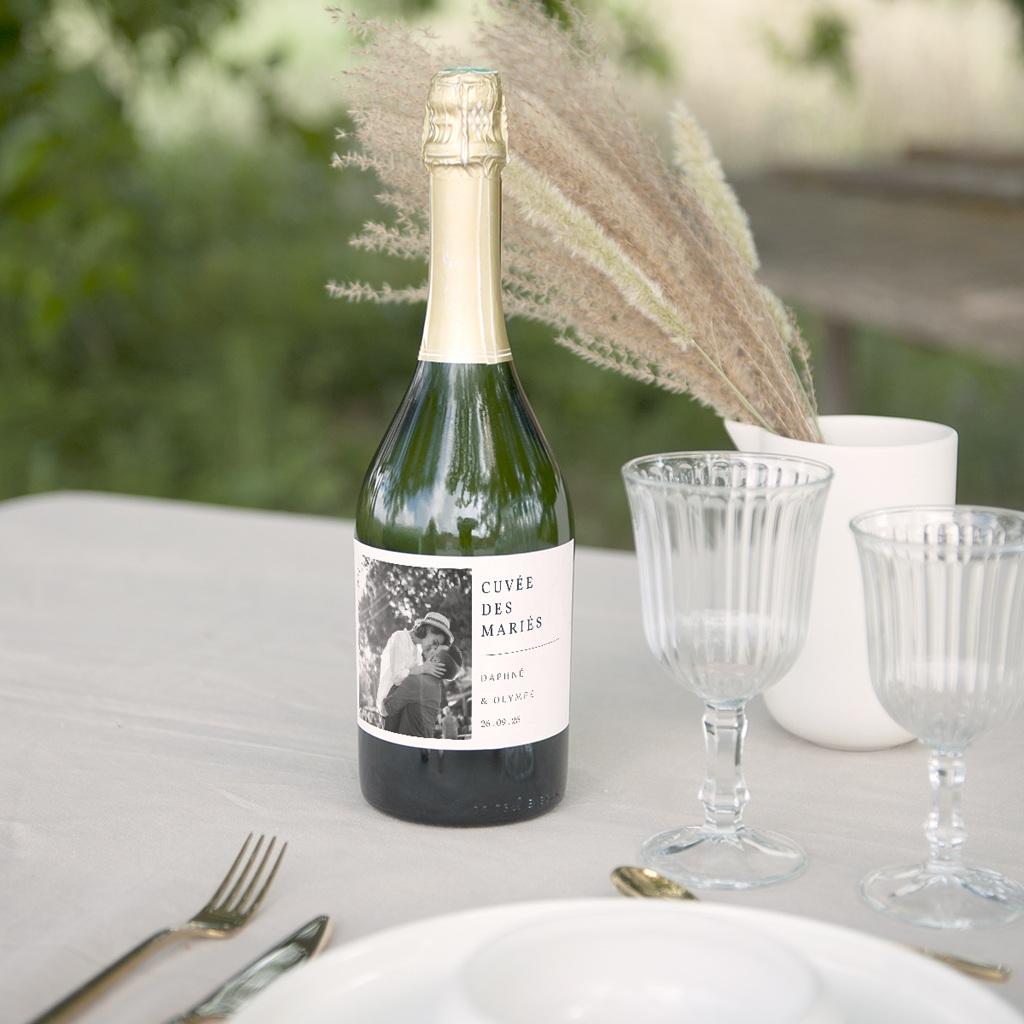 Etiquette bouteille mariage Les Noces d'une Tribu, champagne gratuit