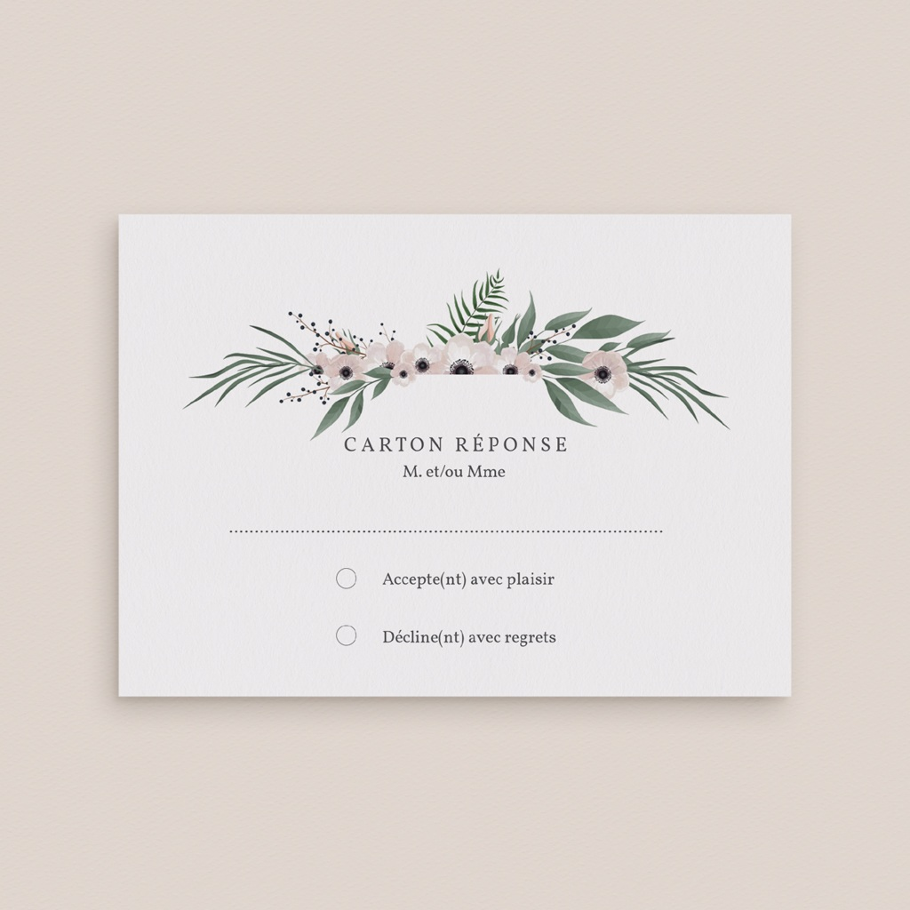 Carton réponse mariage Fleurs et végétaux gratuit
