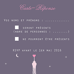 Carton réponse mariage Paris violine pas cher