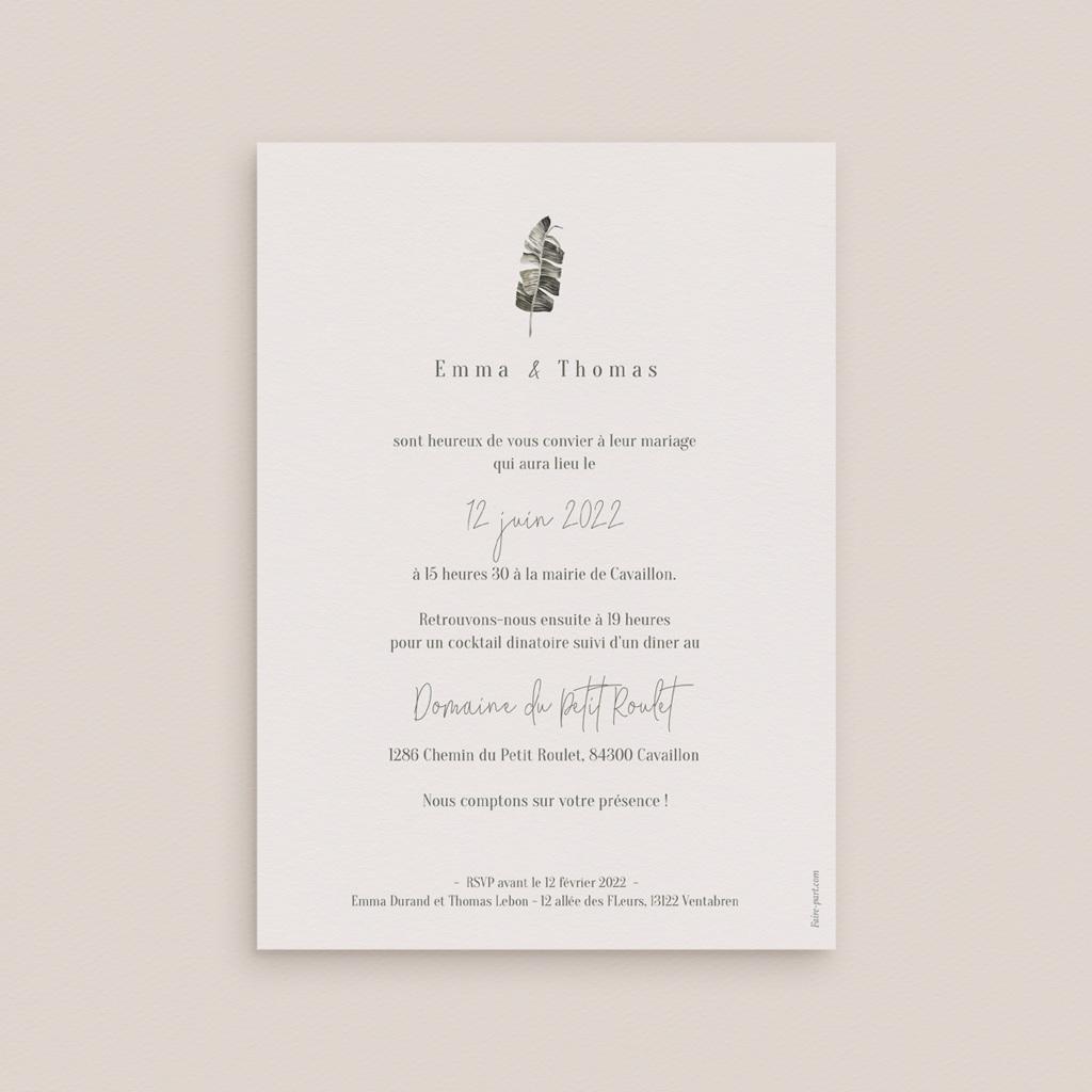 Faire-part de mariage Bananier Monstera & Fleurs, 12 x 16,7 cm pas cher