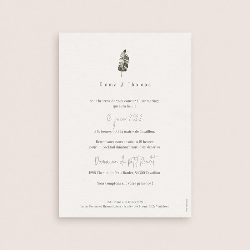 Faire-part de mariage Bananier Monstera & Fleurs, 12 x 16,7 cm