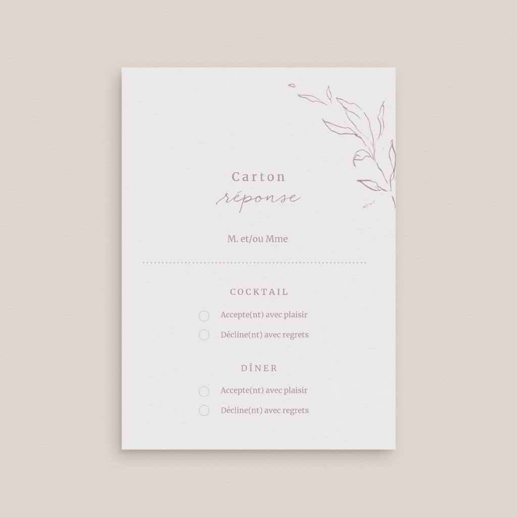 Carton réponse mariage Kinfolk, Rsvp gratuit