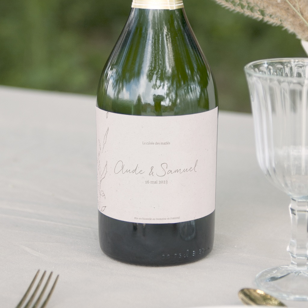 Etiquette bouteille mariage Kinfolk, Champagne ou Vin