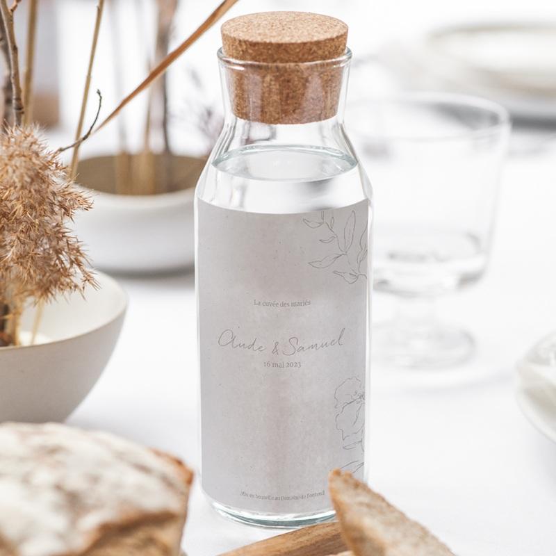 Etiquette bouteille mariage Kinfolk, Vin ou Eau gratuit