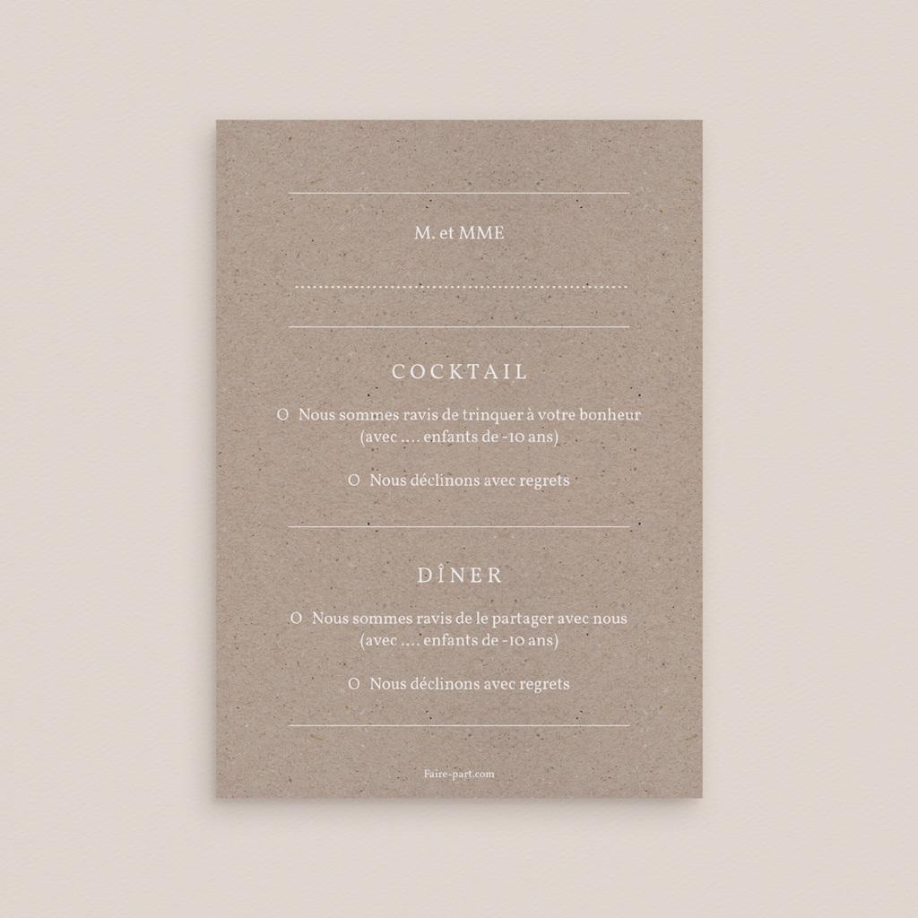 Carton réponse mariage Kraft Folk, Rsvp, 10 x 14 cm pas cher