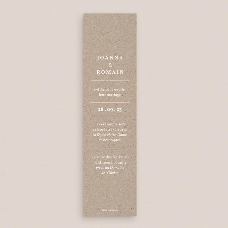 Change the date mariage Kraft Folk, Marque-Page, 5,5 x 21 cm pas cher