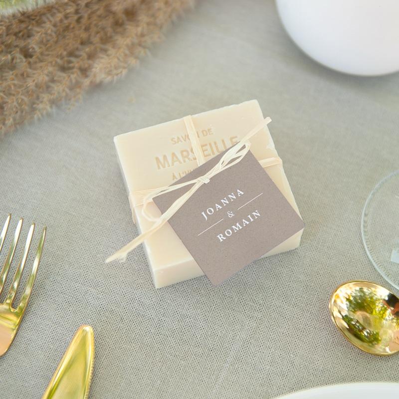 Etiquettes cadeaux mariage Kraft Folk, Souvenir invités