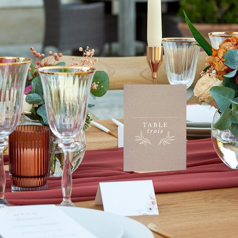 Marque table mariage Kraft Folk, Lot de 3 repères pas cher