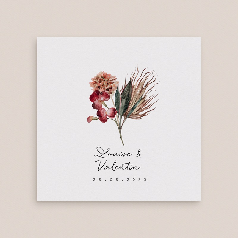Faire-part de mariage Bouquet fleurs pourpres, Double volet, 14 x 14 cm
