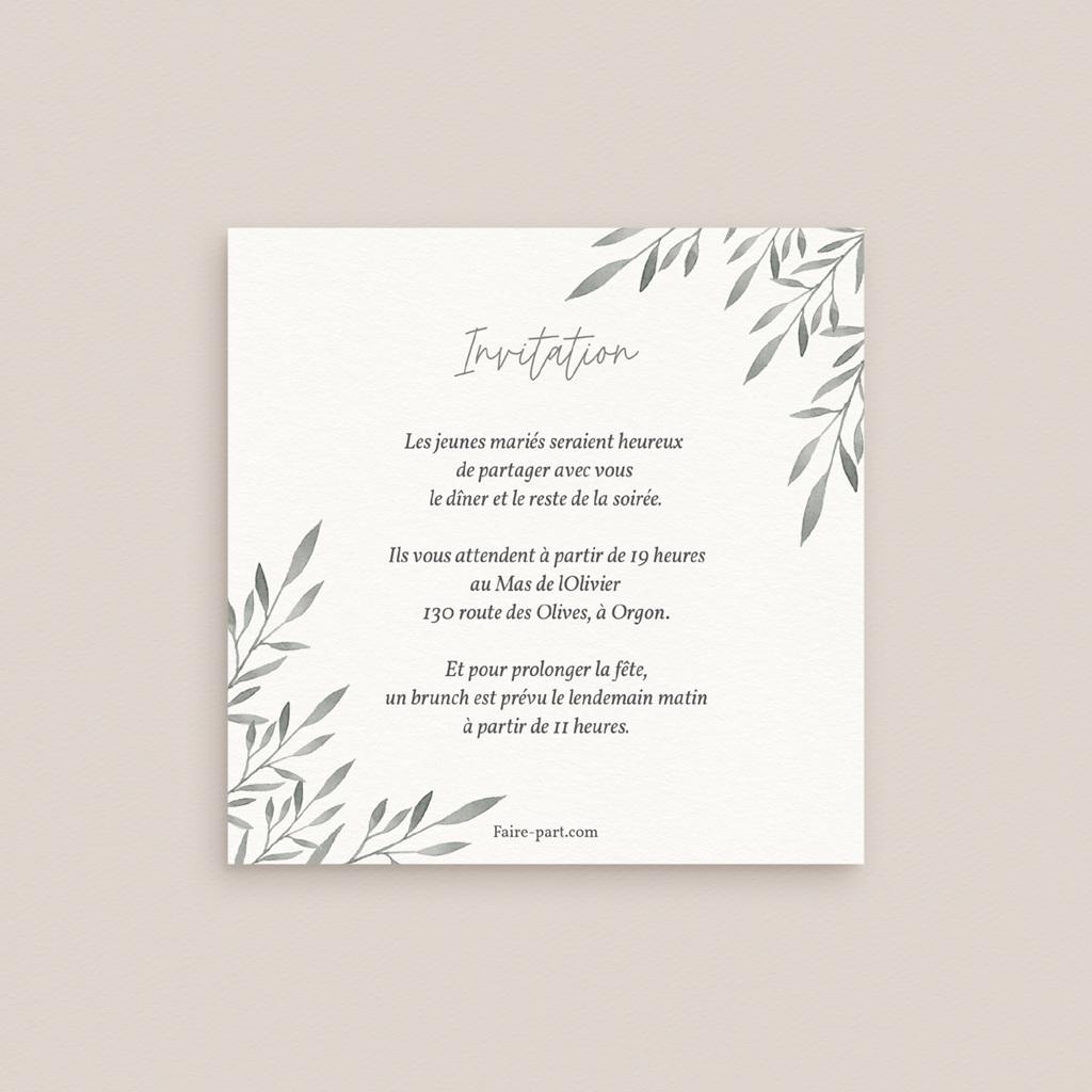 Carte d'invitation mariage Rameaux d'Olivier, Dîner, Soirée & Brunch pas cher