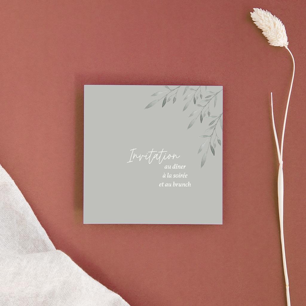Carte d'invitation mariage Rameaux d'Olivier, Dîner, Soirée & Brunch