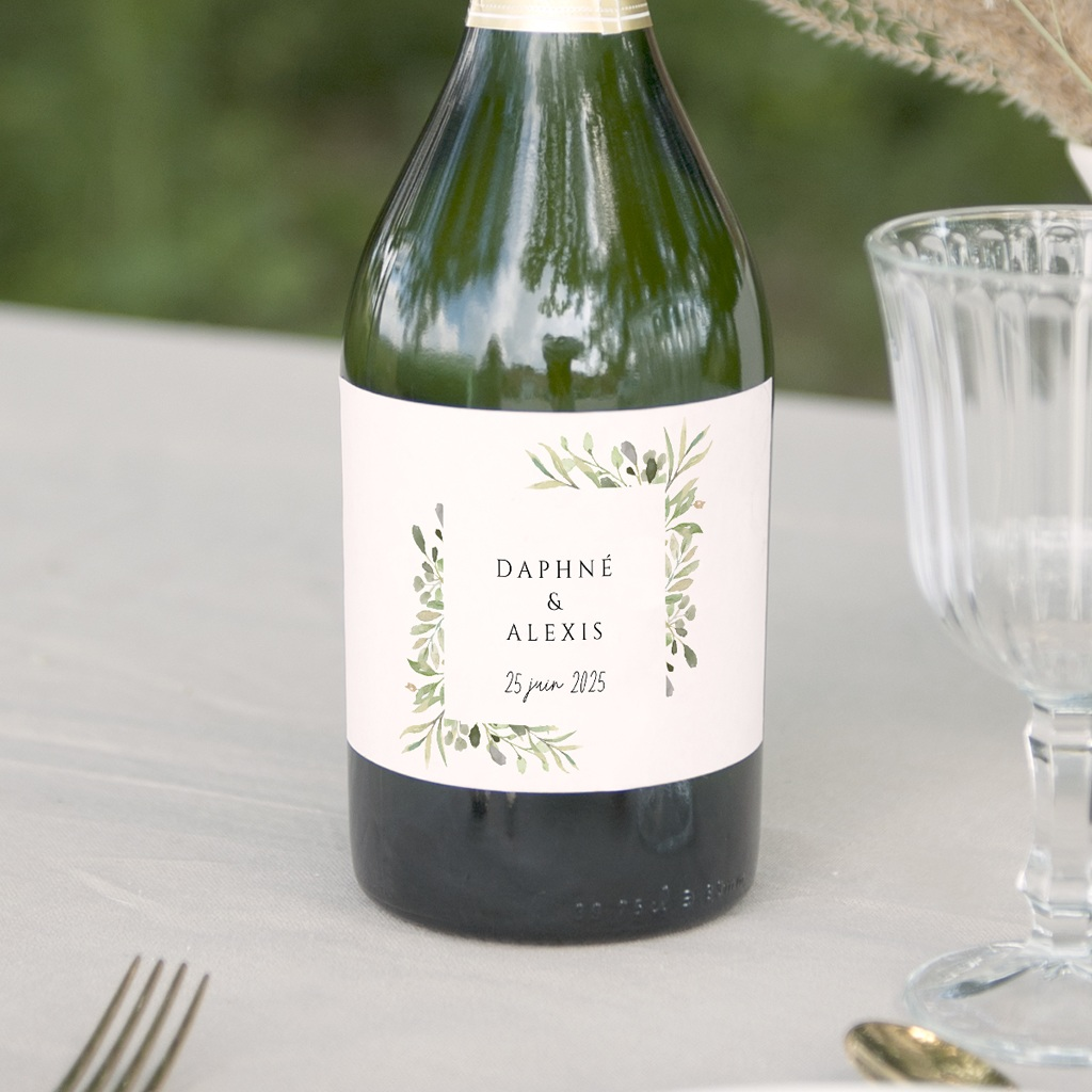 Etiquette bouteille mariage Feuilles Nature Champêtre, Lot de 8