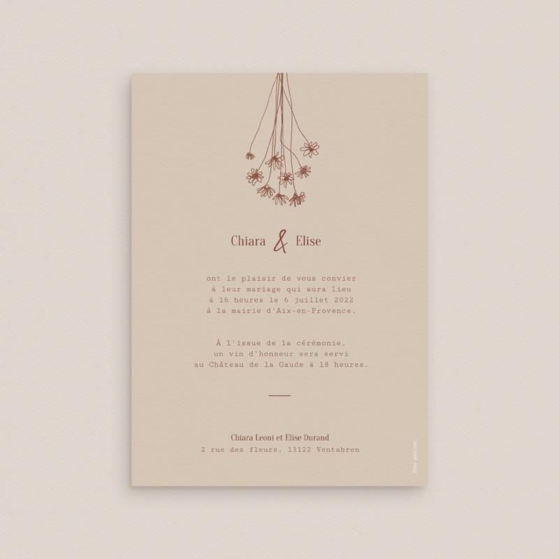 Faire-part de mariage Empreinte de Fleurs sauvages pas cher