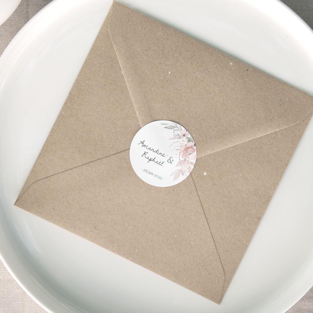 Etiquette enveloppes mariage La roseraie, Rond, 4,5 cm
