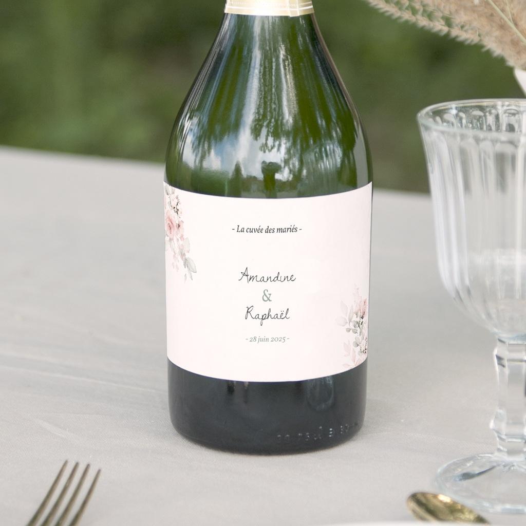 Etiquette bouteille mariage La Roseraie, Lot de 8, 13 x 8 cm