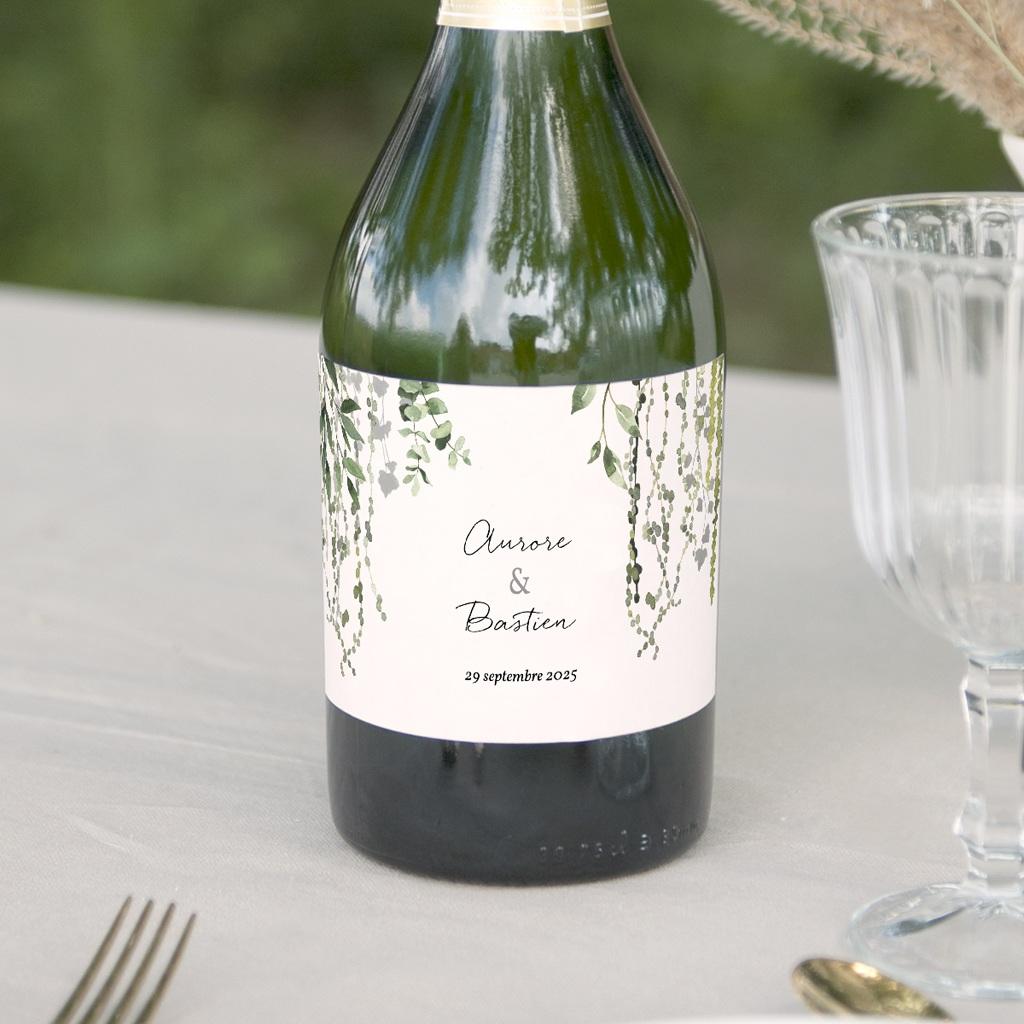 Etiquette bouteille mariage Nature Végétale, horizontal 13x8 cm