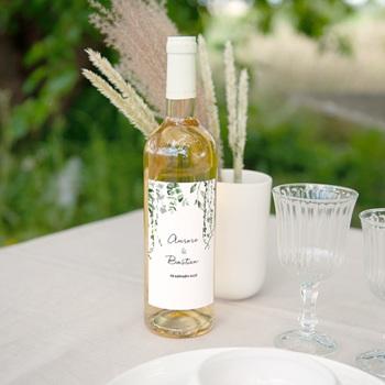 Etiquette bouteille mariage Nature Végétale, Vertical 8x13 cm