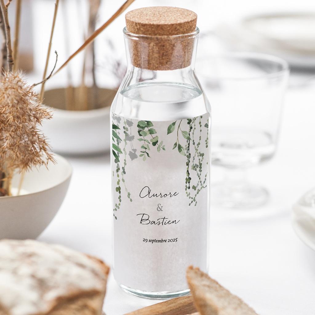 Etiquette bouteille mariage Nature Végétale, Vertical 8x13 cm gratuit