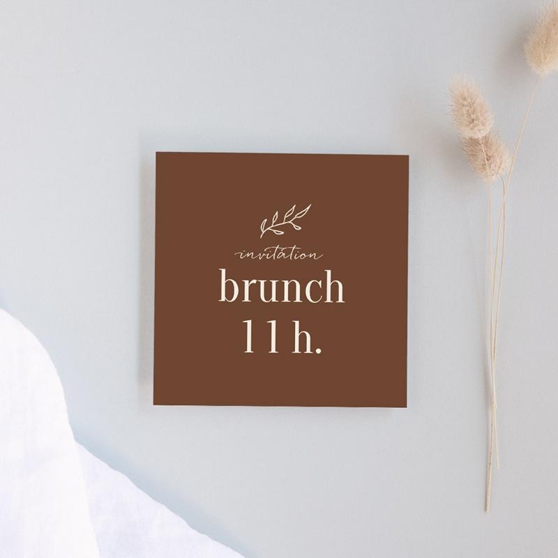 Carte invitation Brunch Typographie & Couleur, 10 x 10 cm