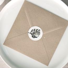 Etiquette enveloppes mariage Monstera, Sticker
