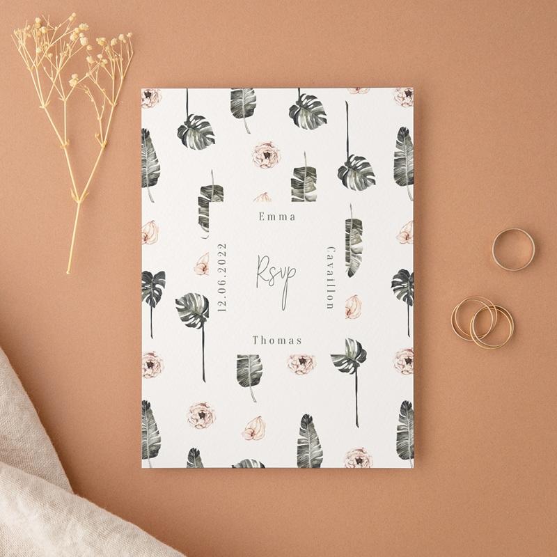 Carton réponse mariage Bananier Monstera & Fleurs, Rsvp