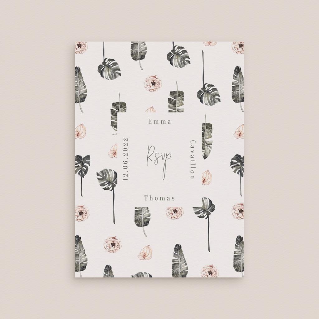 Carton réponse mariage Bananier Monstera & Fleurs, Rsvp gratuit