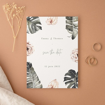 Save-the-date mariage Bananier Monstera & Fleurs, D-Day