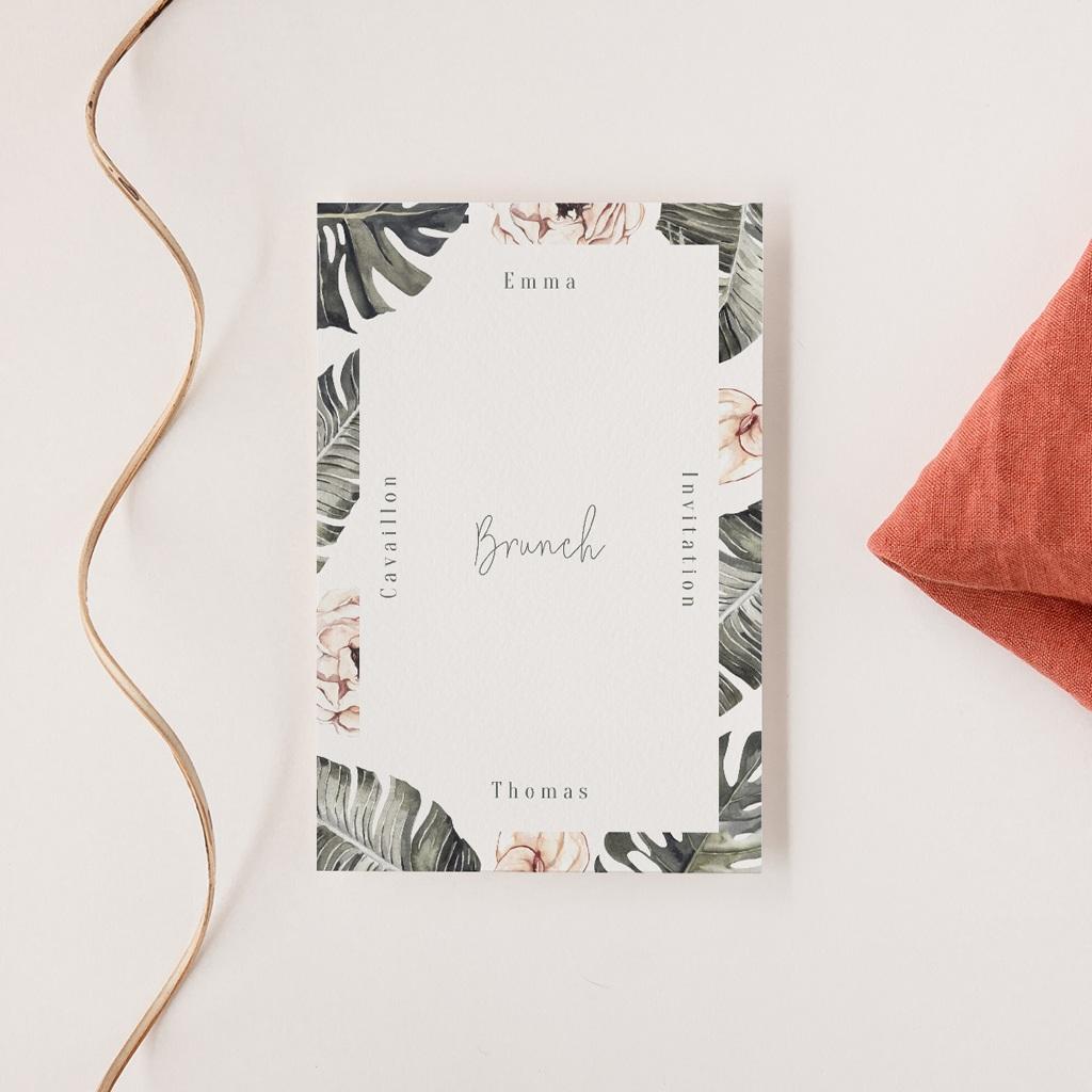 Carte invitation Brunch Bananier Monstera & Fleurs, Brunch