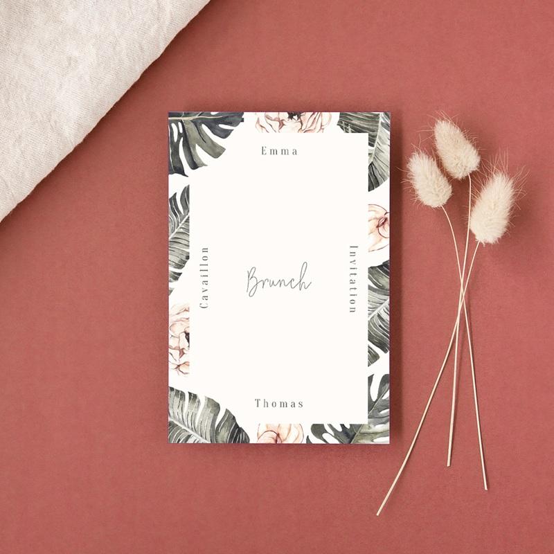 Carte invitation Brunch Bananier Monstera & Fleurs, Brunch gratuit