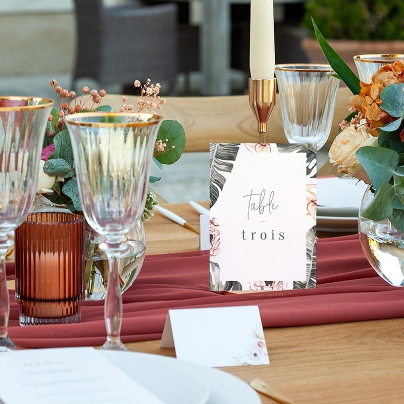 Marque table mariage Bananier Monstera & Fleurs, Lot de 3 pas cher