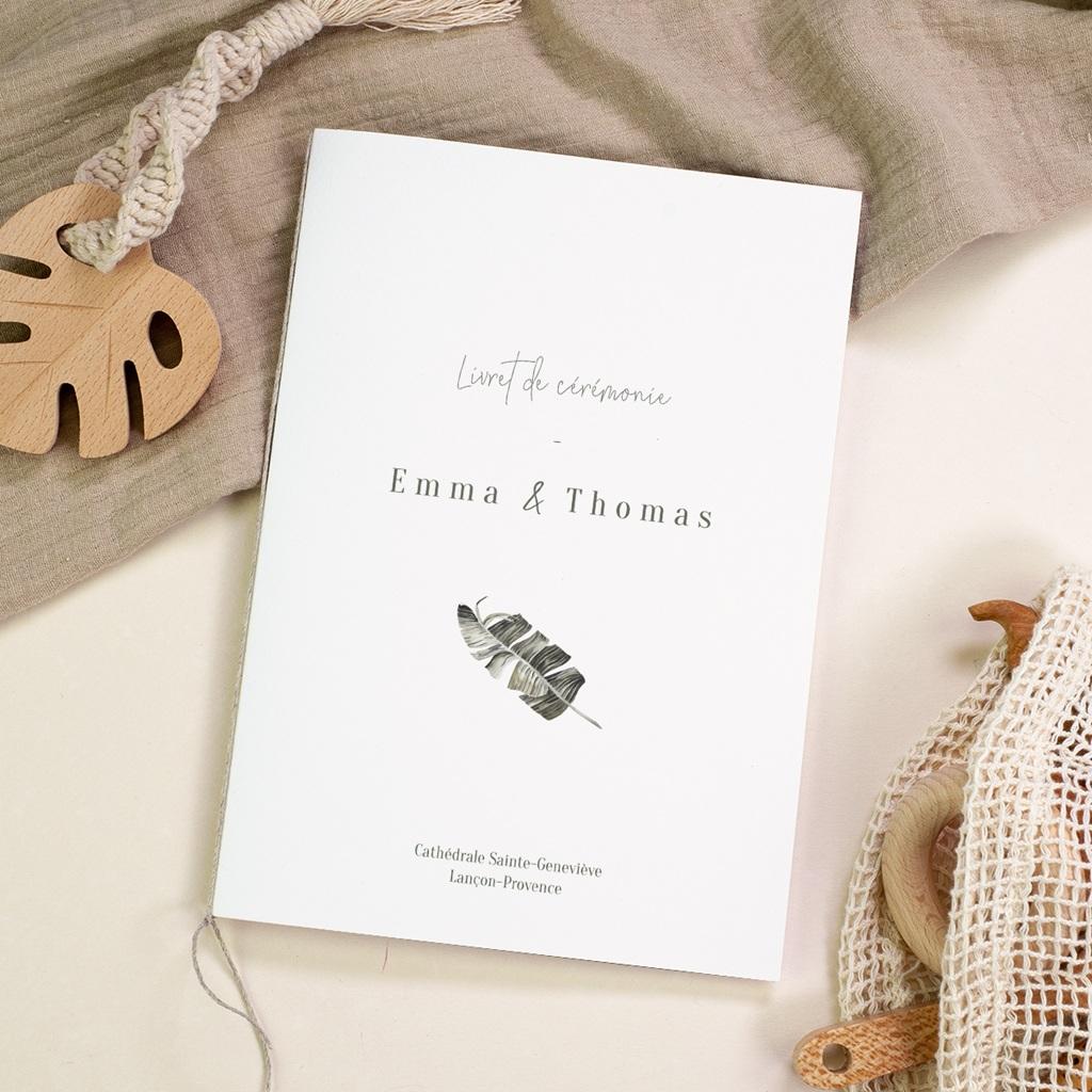 Livret de messe mariage Bananier Monstera & Fleurs, Couverture