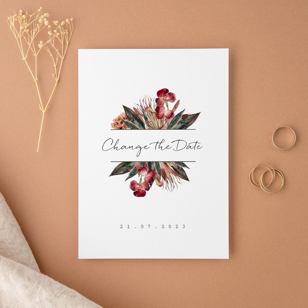 Change the date mariage Bouquet fleurs pourpres, New date