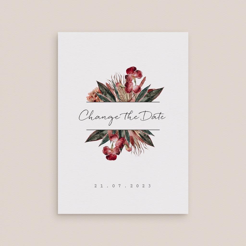 Change the date mariage Bouquet fleurs pourpres, New date gratuit