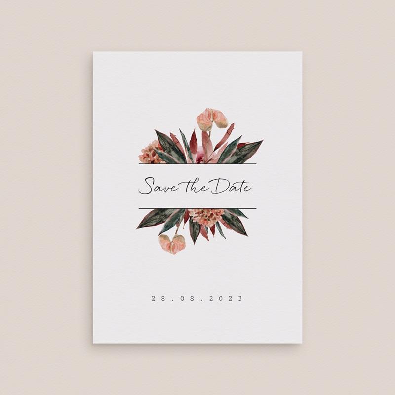 Save-the-date mariage Bouquet fleurs pourpres, D-Day gratuit