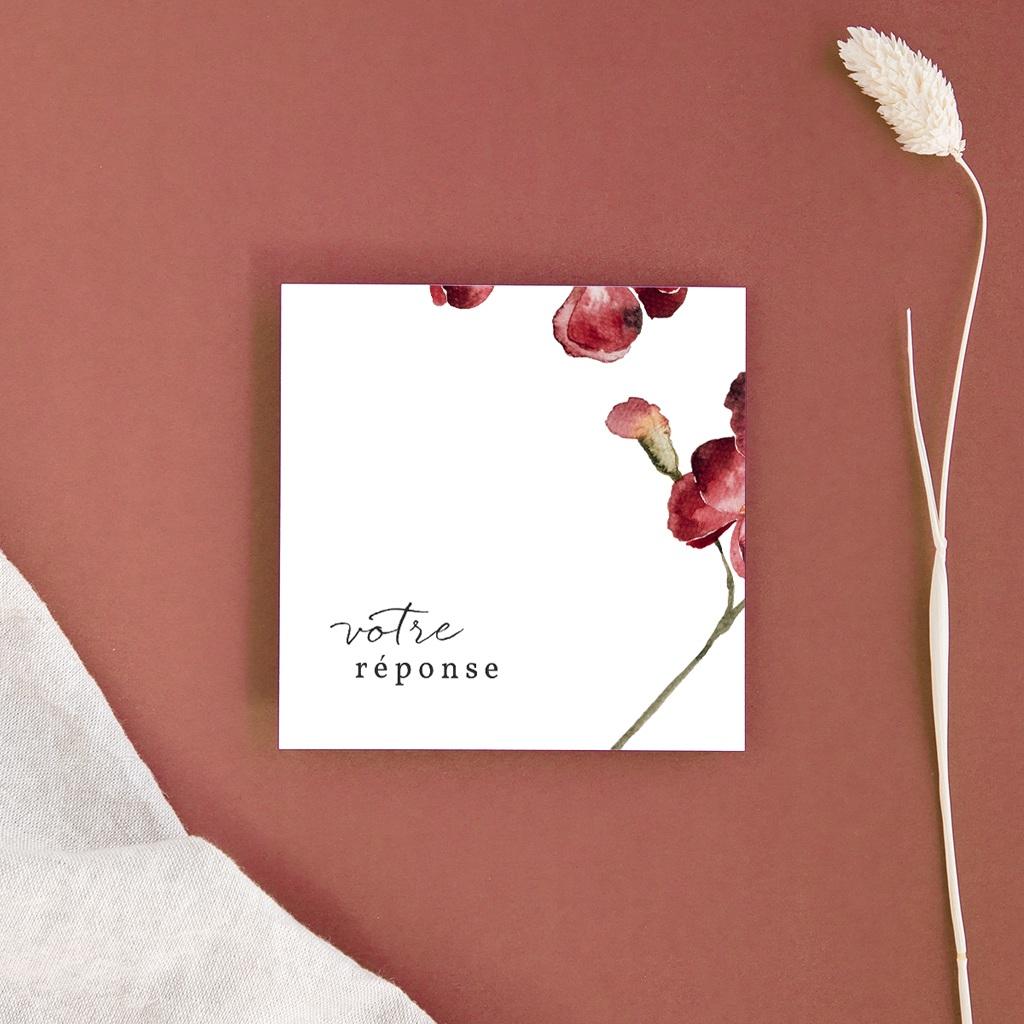 Carton réponse mariage Bouquet fleurs pourpres, 10 x 10
