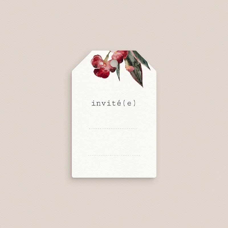 Marque-place mariage Bouquet fleurs pourpres, Invité pas cher