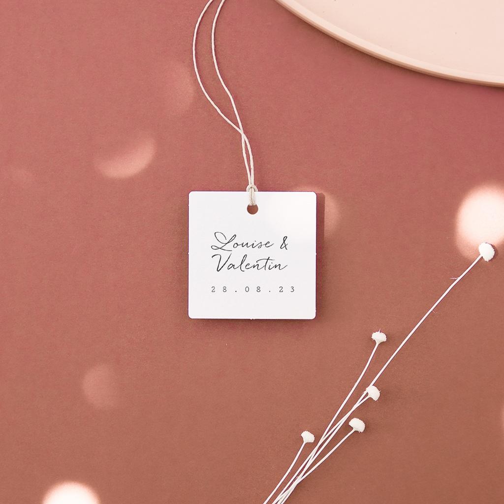 Etiquettes cadeaux mariage Bouquet fleurs pourpres, Souvenir