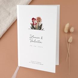 Livret de messe mariage Bouquet fleurs pourpres, Couverture Livret