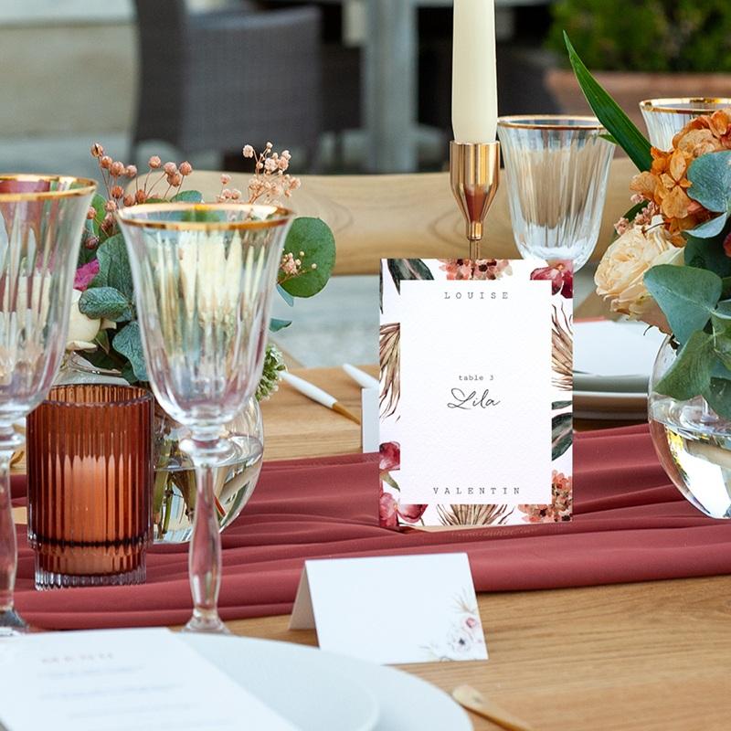 Marque table mariage Bouquet fleurs pourpres, lot de 3 pas cher