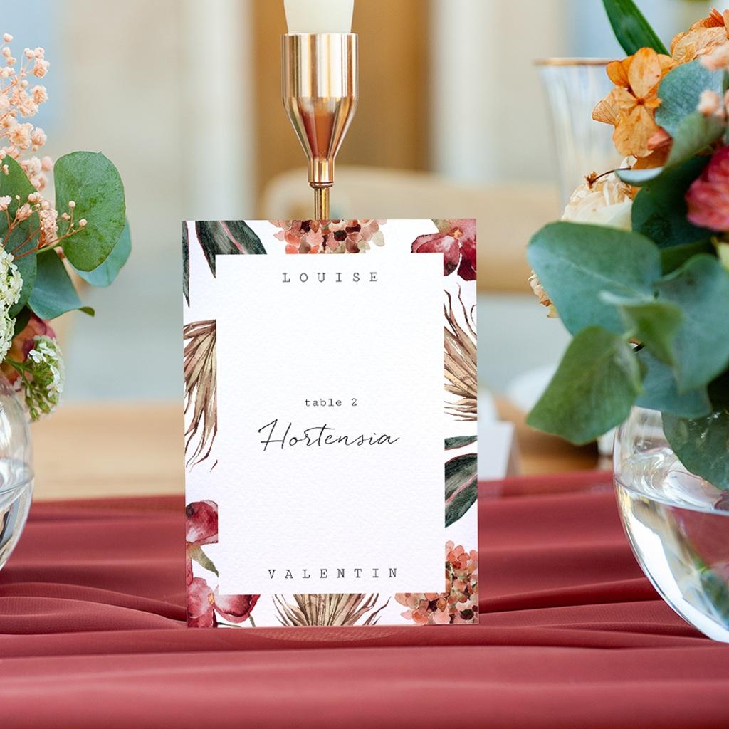 Marque table mariage Bouquet fleurs pourpres, lot de 3 gratuit