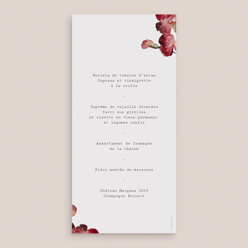Menu mariage Bouquet fleurs pourpres, recto beige pas cher